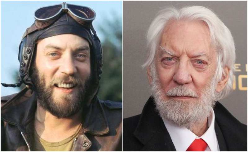 Donald Sutherland's eyes and hair color