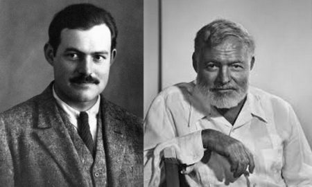 Ernest Hemingway's eyes and hair color
